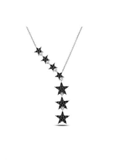 Enesstore Kayan Yıldızlar Siyah Zirkon Taşlı Sallantılı Gümüş Bayan Kolye Beyaz
